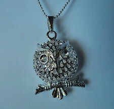 POPULAR LARGE LADIES SILVER OWL PERCHED  ON A TREE CHARM PENDANT NECKLACE