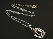 Amethyst Silver Earth Mother Goddess Pentagram Pendant Necklace Pagan Wicca