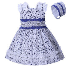 Baby Girl Dress + Bonnet Set Spanish Style Polka Dot Lace Wedding Pageant Party