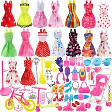 114pcs Clothes Party Gown Outfits For Barbie Dolls Accessories Shoes Bags