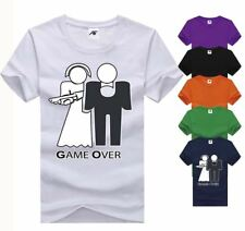 Game Over Printed Top Mens Boys Short Sleeve Gym Wear TShirt Cotton Tee Sports