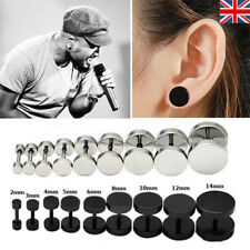 Mens Ear Stud Earring Gothic Punk Black Cool Boy Style Stainless Steel