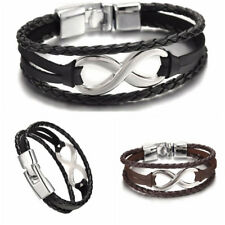 LK_ Infinity Charm Bracelet Bangle Braided Faux Leather Rope Friendship Jewelr