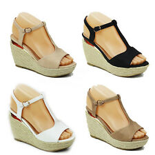 WOMENS PLATFORM PEEP TOE WEDGE HEEL SANDALS ESPADRILLES LADIES SHOES SIZE 3-8