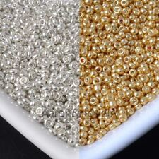2mm 1500 Pcs  gold and silver Czech Glass Seed Spacer Beads For Jewelry Making