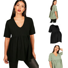 NEW Womens Short Sleeved Maternity And Pregnancy Crepe V Neck Smock Top