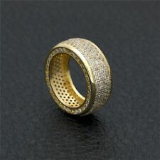 Gold Filled Real Micro Pave Bling CZ Simple Design Unique Hip Hop Bling Ring Men