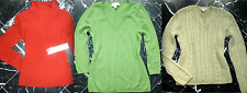 J.CREW Cable Knit Green V-Neck PIMA Red MERINO WOOL Long Sleeve Sweater Top S