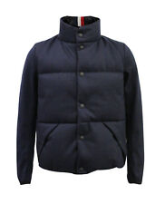 BRAND NEW MENS MONCLER WOOL BLEND PUFF MAGLIA BOMBER JACKET COAT - NAVY