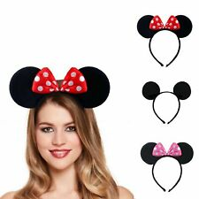 Mickey Minnie Mouse Ears Headband Alice Band Fancy Dress Spotted Bow Ladies Girl