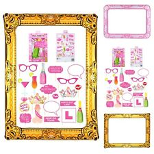 Hen Party Photo Booth Kit Blow Up Wedding 20 PROPS + INFLATABLE SELFIE FRAME