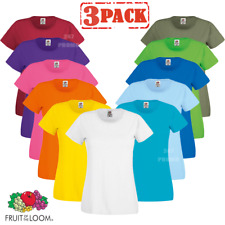 3 PACK Fruit of the Loom WOMEN'S T-SHIRTS TOP PLAIN COTTON CREW NECK SUMMER TEE