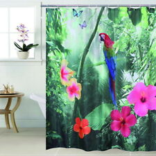 Fabric Polyester 3D Red Parrot Waterproof Shower Curtain 3D Waterfall Bathroom S