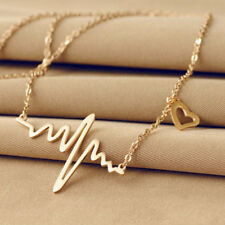 Popular Wave Heartbeat Pendant Necklace Long Sweater Chain Gold Choker Necklace1