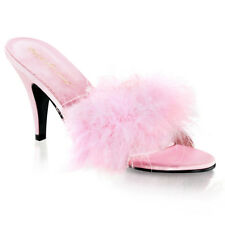 Pleaser Fabulicious Amour 03 Baby Pink Satin Marabou Fur Slide Mules / Sippers