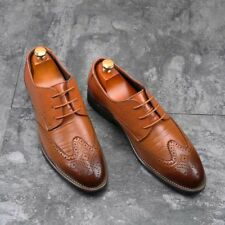 New Mens Leather Dress Shoes Business Formal Lace Up Wing Tip Brogues Casual