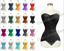 Heavy Duty Double Steel Boned Long Line for Waist Over Bust Satin Corset 8151-LS