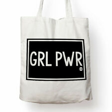 GRL PWR feminist cotton canvas tote bag