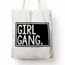 Girl Gang feminist cotton canvas tote bag