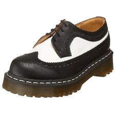 Dr. Martens 3989 Brogue Black & White Smooth Real Leather Shoes Unisex UK3-10