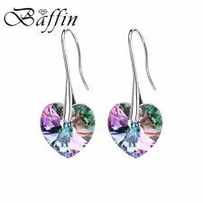 Baffin Crystal Heart Drop Earrings Made With Swarovski Elements Silver Color Han