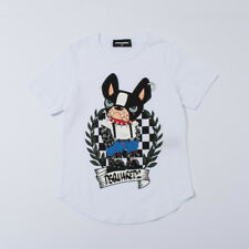 """T-SHIRT BIANCA STAMPA CANE  (8/12A) """"DSQUARED2"""" DQ02LY P/E 2018 -35%"""