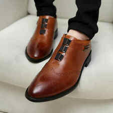 Men Leather Loafers Dress Leisure Shoes Pull On Formal Oxford High Top Shoes