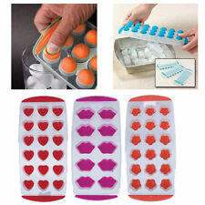 NEW ICE CUBE PLASTIC TRAY SILICONE POP OUT EASY TRAY ICE MOULD LIPS/HEART/FLOWER