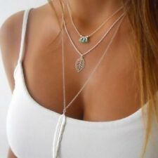 NEW Beads Leaf Feather Pendant 3 Charm Gold Silver Necklace Chain Women Jewelry