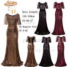 Sequin Long Formal Evening Prom Gowns 1920s Flapper Gatsby Party Cocktail Dress