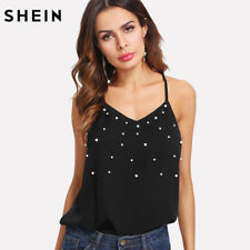 Shein Pearl Embellished Cami Top 2018 Summer Womens Sleeveless Top Black V Neck1