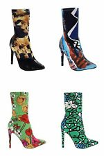 LADIES HIGH STILETTO HEEL  ZIP MIX ANKLE BOOTS LADIES PRINTED POINT TOE UK SHOES