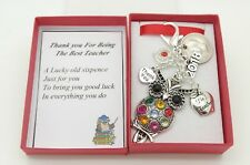 THANK YOU TEACHER GIFT.  OWL(RED) CHARM. SIXPENCE KEYRING.  END OF TERM GIFT