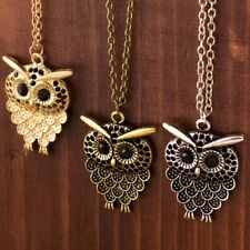 NEW Owl Pendant Crystal Charm Long Bronze Gold Silver Necklace Chain Jewelry