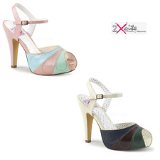 """PLEASER BETTIE 27 PIN UP 4 1/2"""" HEEL PLATFORM ANKLE STRAP SANDALS CLEARANCE"""