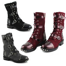 WOMENS LADIES BUCKLE STUDDED BIKER COMBAT ARMY PUNK GOTH ANKLE BOOTS SIZE 3-8