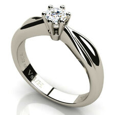 Engagement Diamond Solitaire Ring 18K White Gold 0.30 ct Vs1 Clarity H Color NEW