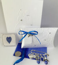 Personalised Bridal Garter Clip Luck Sixpence Something Blue Uncirculated 1967.