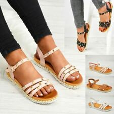 WOMENS LADIES ANKLE STRAP ROCK STUDS FLAT SANDALS SUMMER SHOES SIZE UK