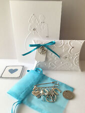 BRIDE garter pin Something Old New Borrowed Blue Guardian Angel Gift Boxed Card
