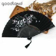 1pcs Bamboo Linen Flower Floral Fabric Summer Folding Hand Held Fan Wedding Favo