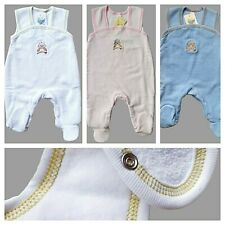 NEWBORN  0-3 Months  3-6 Months  BABY BOY GIRL DUNGAREES WITH FEET  100% COTTON!