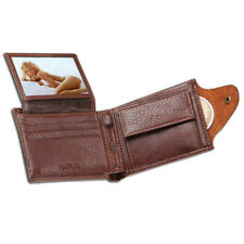Leather wallet with coin pocket photo window men wallets