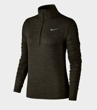 Nike Dry Fit Element Half Zip Running OLIVE Top  Women's Size S