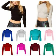 Womens Turtle Neck Crop Top Ladies Long Sleeve Plain Polo Short Stretch T-Shirt
