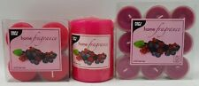 Pink Wild Berries Scented Tea Lights Pillar And Mini Candles RAL Quality Mark