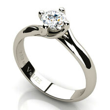 0.50 CT Round Diamond Solitaire Engagement Ring 18K White Gold H Clarity VS1 NEW