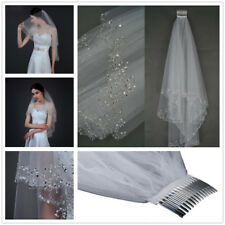 White Ivory 2T Sequins Beaded Edge Wedding Bridal Elbow Veil with Comb UK Seller