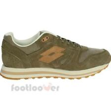 Scarpe Lotto Trainer XI CVS T3930 Uomo Retro Running Olive Sneakers Casual Moda