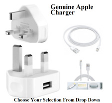 Genuine Apple iPhone 7 6S 6 5 5C iPad Mains Wall Charger Plug And USB Data Cable